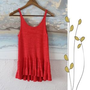 Hinge red cotton and rayon blend sweater tank